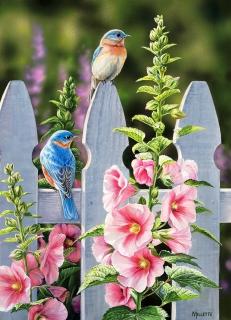 COBBLE HILL - Bluebirds and Hollyhocks