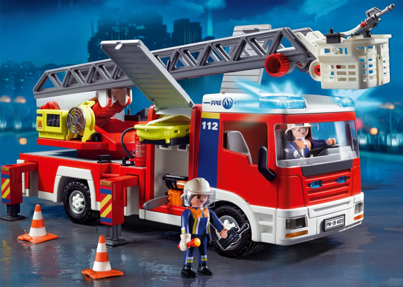 Playmobil fire engine with ladder unit 4820 table mountain toys - Playmobil camion ...