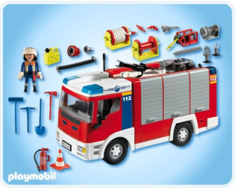 Playmobil fire engine with water hose 4821 table mountain toys - Playmobil camion police ...