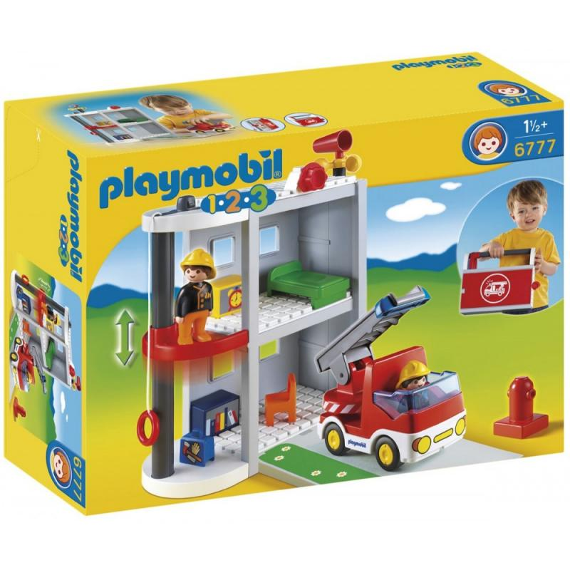 Playmobil 1 2 3 take along fire station 6777 table for Table playmobil