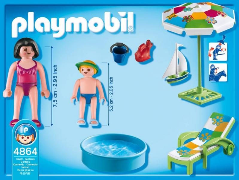 Playmobil paddling pool 4864 table mountain toys for Piscine playmobil
