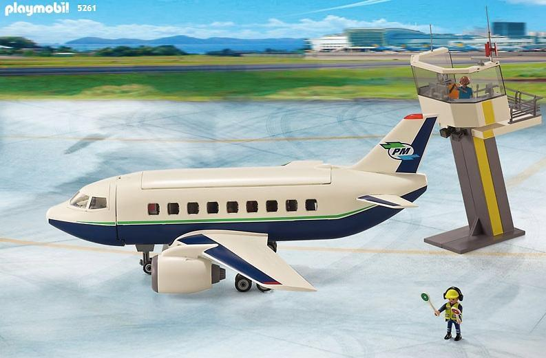 playmobil cargo and passenger aircraft with tower 5261 table