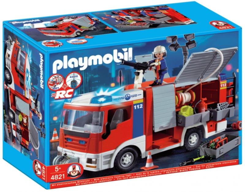 playmobil fire engine with water hose 4821 table. Black Bedroom Furniture Sets. Home Design Ideas