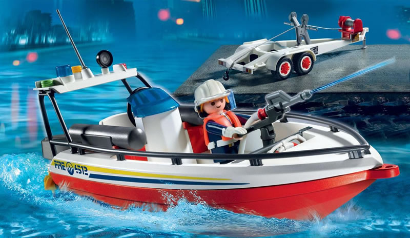 Playmobil Fire Boat With Trailer 4823 Table Mountain Toys