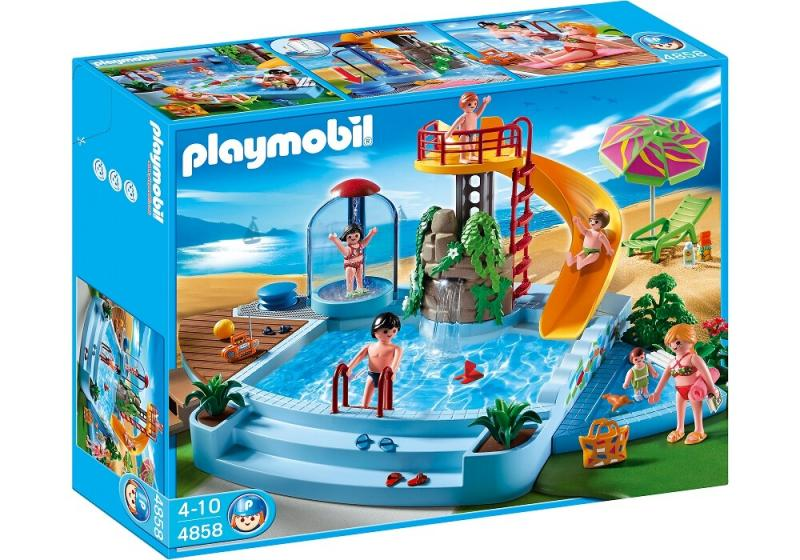 Playmobil pool with water slide 4858 table mountain toys for Piscine playmobile 4858