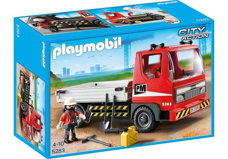Playmobil flatbed construction truck 5283 table mountain toys - Playmobil camion ...