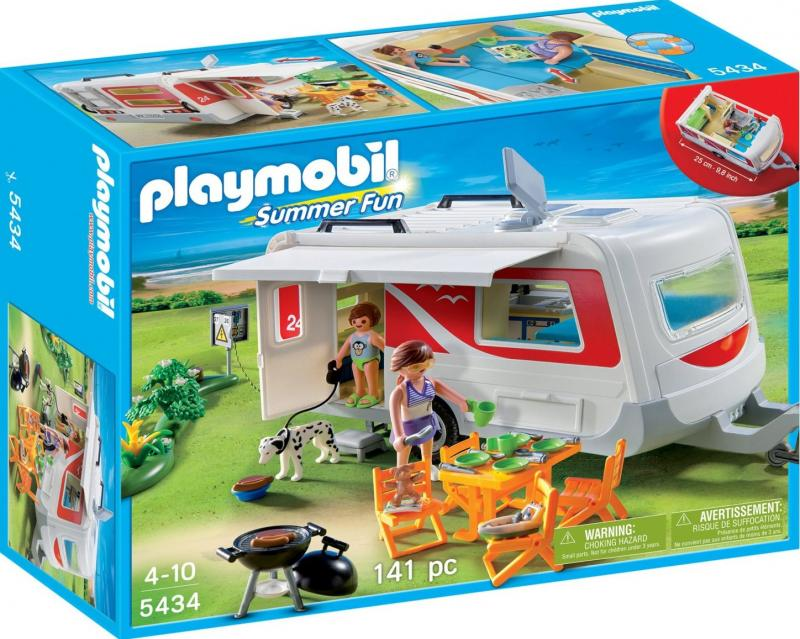Playmobil family caravan 5434 table mountain toys for Piscine playmobil